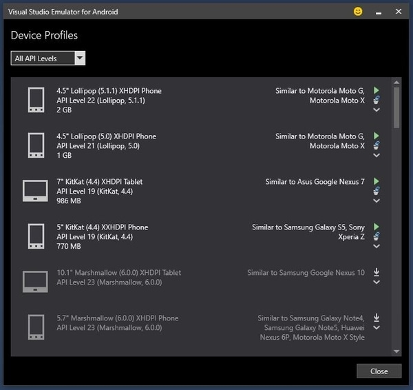 Visual Studio 2017 - Selección Emulador Android