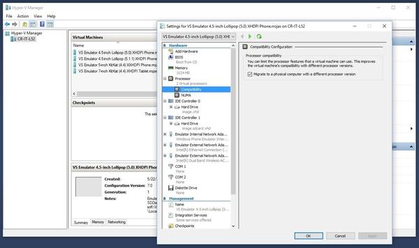 Visual Studio 2017 - Configuracion Emulador