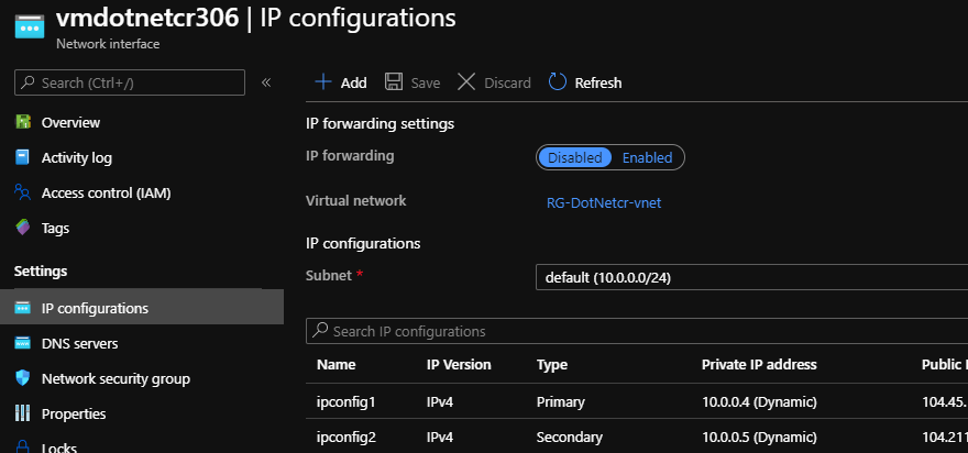 Azure Network Interface